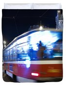 Prague tram Duvet Cover by Stylianos Kleanthous