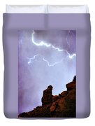 Praying Monk Camelback Mountain Paradise Valley Lightning  Storm Duvet Cover by James BO  Insogna