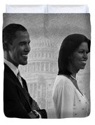 President Obama and First Lady BW Duvet Cover by David Dehner