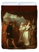 Queen Philippa Interceding For The Lives Of The Burghers Of Calais Duvet Cover by Benjamin West