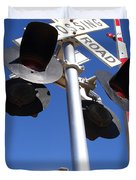 Railroad Crossing Sign And Gate . 7d10645 Duvet Cover by Wingsdomain Art and Photography