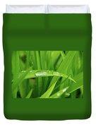 Rain Drops On Grass Duvet Cover by Trever Miller