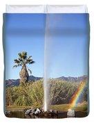 Rainbow At Old Faithful Duvet Cover by Jenna Szerlag