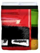 Red And Green Square Duvet Cover by Naxart Studio