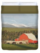 Red Barn With Horses Grazing Duvet Cover by Michael Interisano