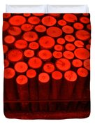 Red Circle Sticks Duvet Cover by Kym Backland