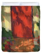 Red Door - Shadow and Light Duvet Cover by Diane McClary