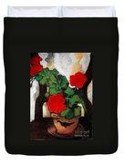 Red Geranium Duvet Cover by Mona Edulesco