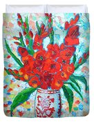 Red Gladiolus Duvet Cover by Ana Maria Edulescu