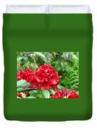 Red Rhododendron Floral Art Prints Rhodies Duvet Cover by Baslee Troutman