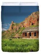 Red Rock Cabin Duvet Cover by Leland D Howard
