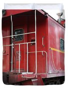 Red Sante Fe Caboose Train . 7D10330 Duvet Cover by Wingsdomain Art and Photography