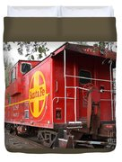 Red Sante Fe Caboose Train . 7d10332 Duvet Cover by Wingsdomain Art and Photography