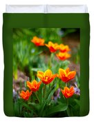 Red Tulips Duvet Cover by Paul Ge