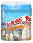 Reds Java House and The Bay Bridge at San Francisco Embarcadero Duvet Cover by Wingsdomain Art and Photography