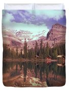 Reflection Of Cabins And Mountains In Duvet Cover by Carson Ganci