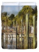 Reflections At Fort Pierce Duvet Cover by Trish Tritz