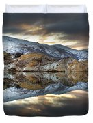 Reflections Of Cliffs On Blue Lake St Bathans Duvet Cover by Colin Monteath