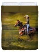 Riding Thru The Meadow Duvet Cover by Susan Candelario