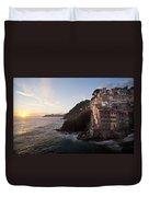Riomaggio Sunset Duvet Cover by Mike Reid