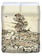 Rocky Ground At Montmajour Duvet Cover by Vincent van Gogh