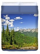 Rocky Mountain View From Mount Revelstoke Duvet Cover by Elena Elisseeva
