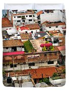 Rooftops in Puerto Vallarta Mexico Duvet Cover by Elena Elisseeva