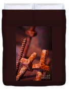 Rusty Screws Duvet Cover by Carlos Caetano