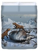 Sabre-toothed Tigers Battle Duvet Cover by Mark Stevenson