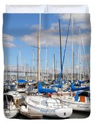 Sail Boats At San Francisco China Basin Pier 42 With The Bay Bridge In The Background . 7d7688 Duvet Cover by Wingsdomain Art and Photography