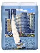 Sailboat In Toronto Harbor Duvet Cover by Elena Elisseeva