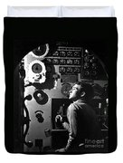 Sailor At Work In The Electric Engine Duvet Cover by Stocktrek Images