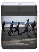 Sailors Clear The Landing Area Duvet Cover by Stocktrek Images