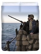 Sailors Stand Small Caliber Attack Team Duvet Cover by Stocktrek Images