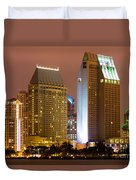 San Diego City At Night Duvet Cover by Paul Velgos
