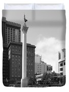 San Francisco - Union Square - 5D17933 - black and white Duvet Cover by Wingsdomain Art and Photography