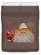 Santa Is A Gardener Duvet Cover by Christine Till