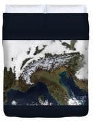 Satellite View Of The Alps Duvet Cover by Stocktrek Images