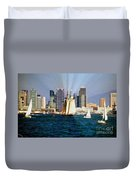 Saturday In San Diego Bay Duvet Cover by Cheryl Young