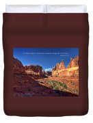 Scripture And Picture Romans 8 37  Duvet Cover by Ken Smith
