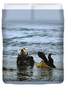 Sea Otter Enhydra Lutris Wrapped Duvet Cover by Konrad Wothe