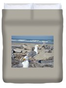 Seagull Bird Art Prints Coastal Beach Bandon Duvet Cover by Baslee Troutman