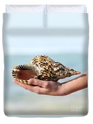 Seashell In Hand Duvet Cover by Elena Elisseeva