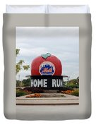 Shea Stadium Home Run Apple Duvet Cover by Rob Hans