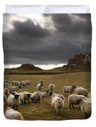 Sheep Grazing By Lindisfarne Castle Duvet Cover by John Short