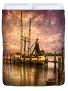 Shrimp Boat At Sunset II Duvet Cover by Debra and Dave Vanderlaan