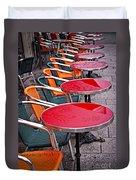 Sidewalk Cafe In Paris Duvet Cover by Elena Elisseeva