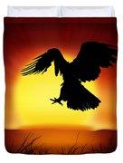 Silhouette Of Eagle Duvet Cover by Setsiri Silapasuwanchai