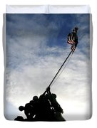 Silhouette Of The Iwo Jima Statue Duvet Cover by Michael Wood