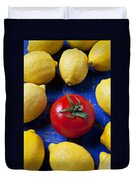 Single Tomato With Lemons Duvet Cover by Garry Gay